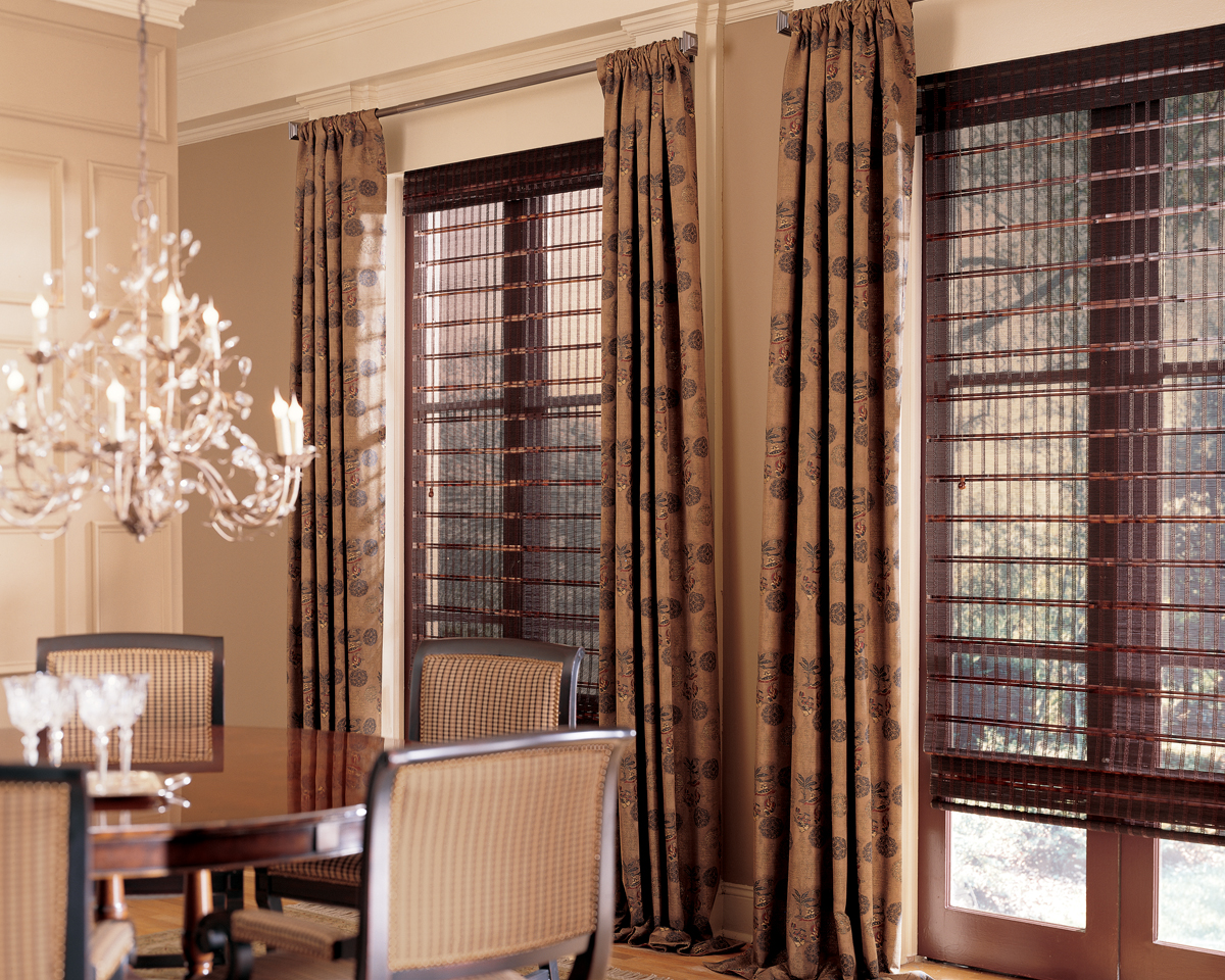 Blinds vertical blinds wood blinds roman shades drapery draperies - Pairing Blinds And Shades With Drapery Serving Fairfield