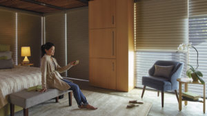 Nantucket™ Privacy Sheers with PowerView™ Motorization in the Bedroom