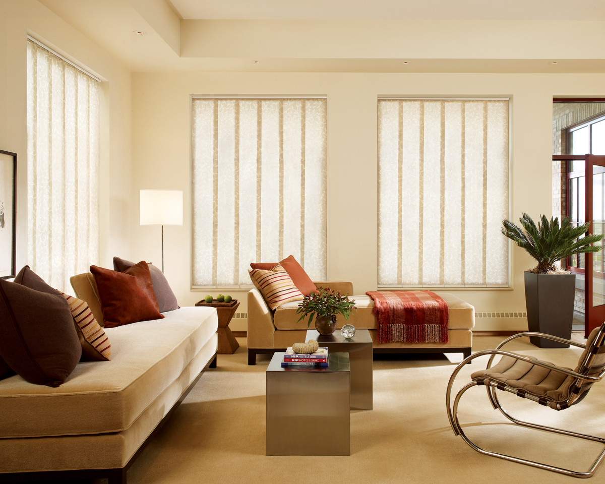 Skline Gliding Window Panels Pair Well With Hunter Douglas Designer Roller Shades
